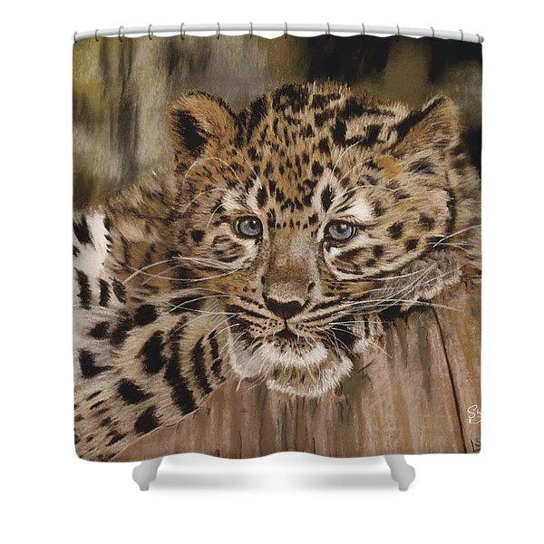 Amur Leopard Cub Shower Curtain