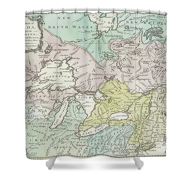An Accurate Map Of Canada, With The Adjacent Countries, 1761  Shower Curtain