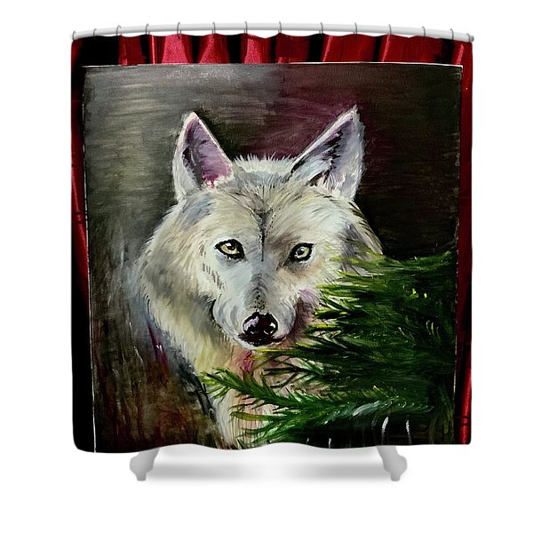 An Arctic Wolf Seeing Through The Soul Shower Curtain