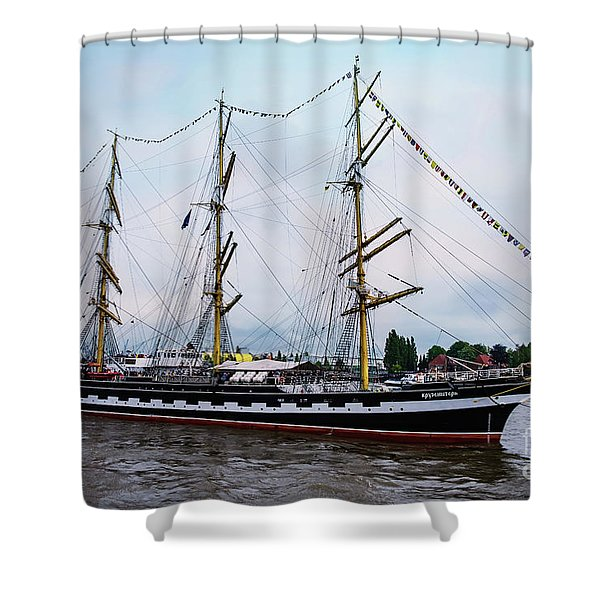 An Exit Sailboat Krusenstern On Parade Shower Curtain