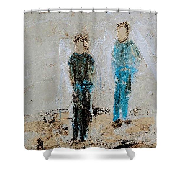 Angel Boys On A Dirt Road Shower Curtain