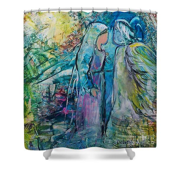 Shower Curtain featuring the painting Angel Encounter by Deborah Nell