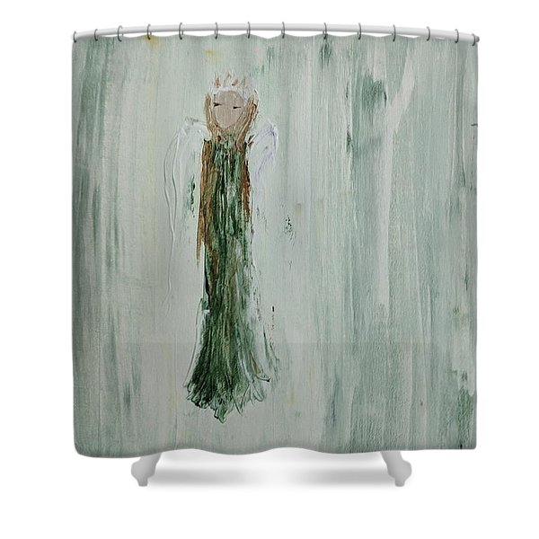 Angel In Green Shower Curtain