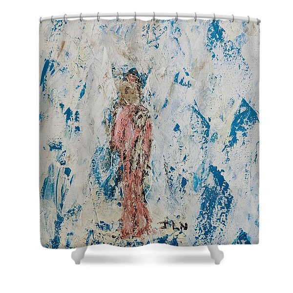 Angel With Her Pet Goat Shower Curtain