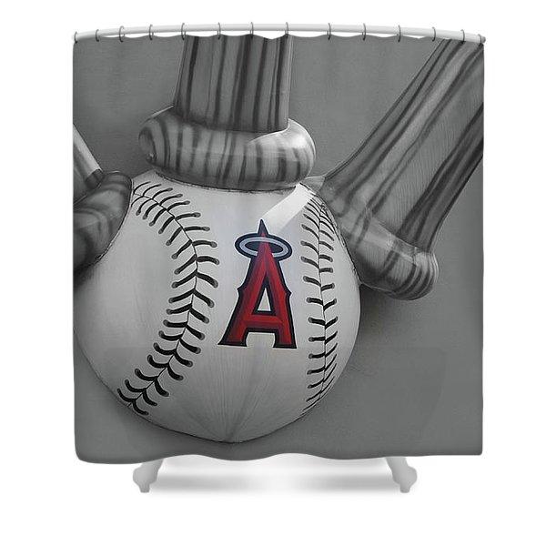 Angels Baseball Shower Curtain