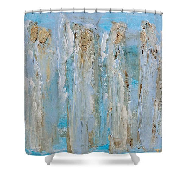 Angels Coming Together Shower Curtain