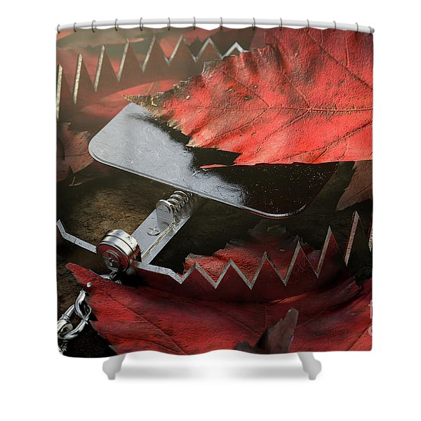 Animal Trap In Leaves Shower Curtain