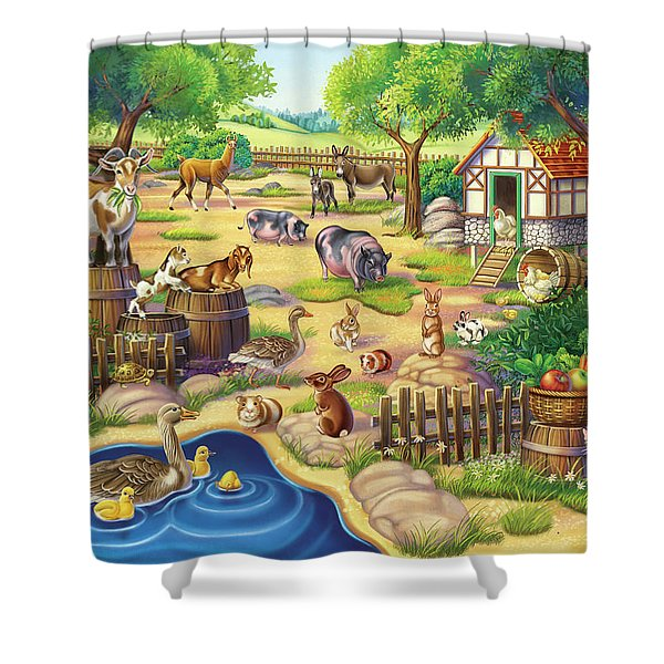 Animals At The Petting Zoo Shower Curtain