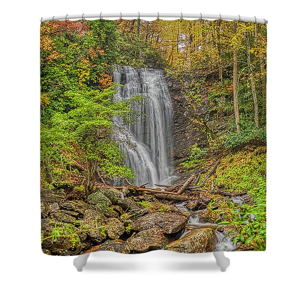 Shower Curtain featuring the photograph Anna Ruby Falls Left by Meta Gatschenberger