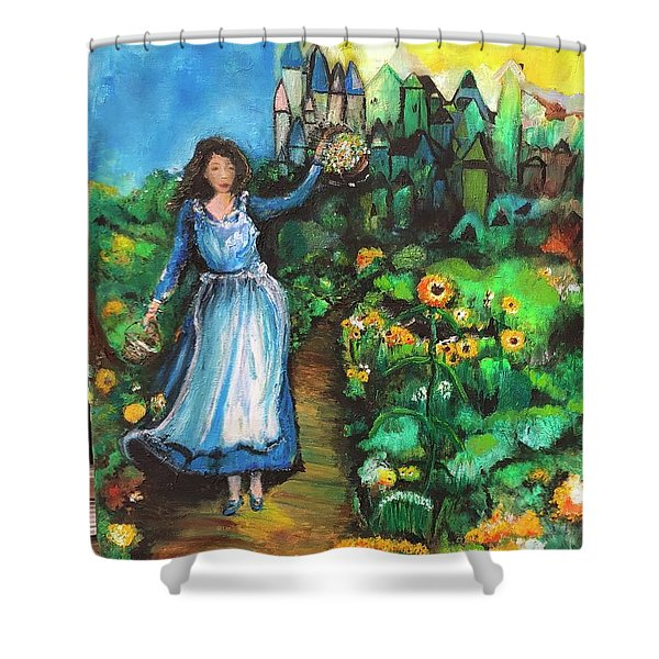 Shower Curtain featuring the photograph Annabelle And Sunflowers by Laurie Lundquist