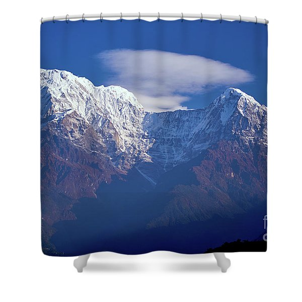 Shower Curtain featuring the photograph Annapurna South Peak And Pass In The Himalaya Mountains, Annapurna Region, Nepal by Raimond Klavins