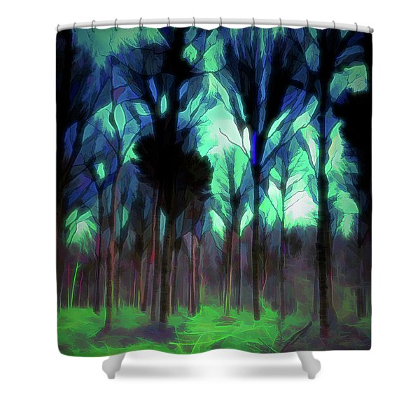 Shower Curtain featuring the digital art Another World - Forest by Scott Lyons