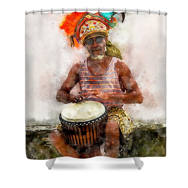 Antiguan Drummer Shower Curtain