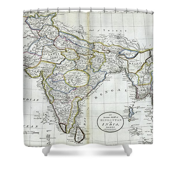 Antique Map Of India   Shower Curtain