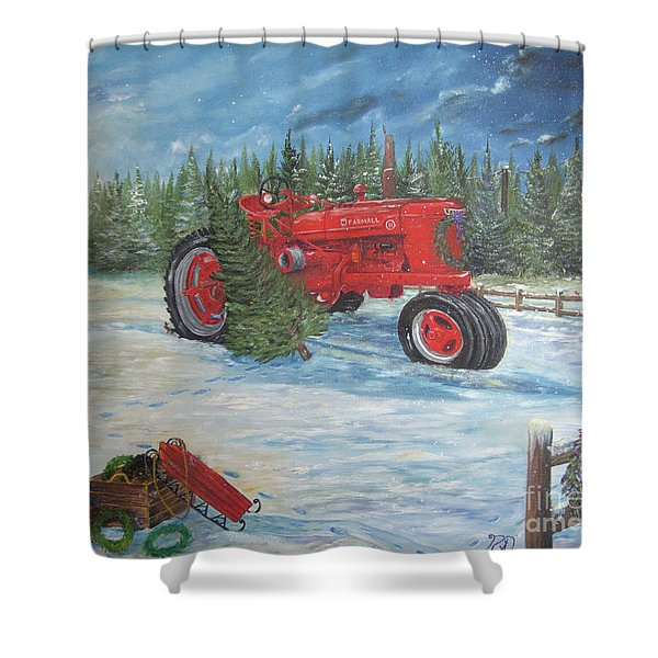 Antique Tractor At The Christmas Tree Farm Shower Curtain