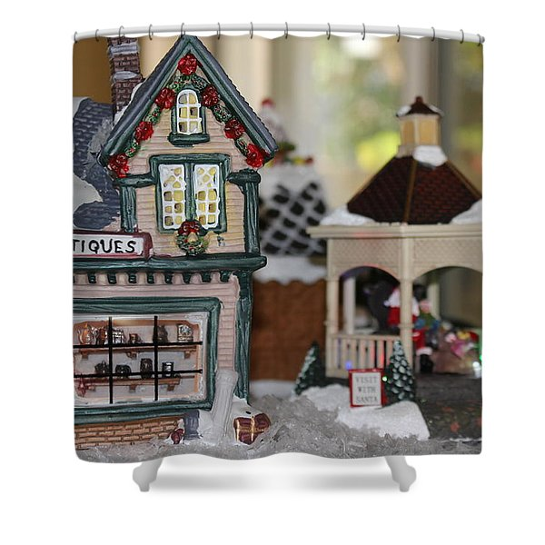 Antiques In Christmas Town Shower Curtain