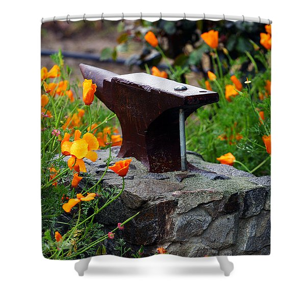 Anvil In The Poppies Shower Curtain