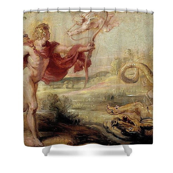 'apollo And The Python', 1636-1637, Flemish School, Oil On Panel, 26,8 Cm X ... Shower Curtain