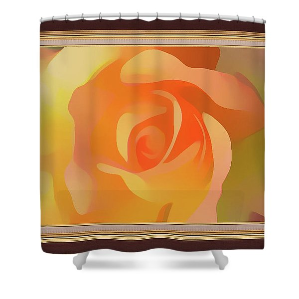 Apricot Desert Rose Framed Shower Curtain