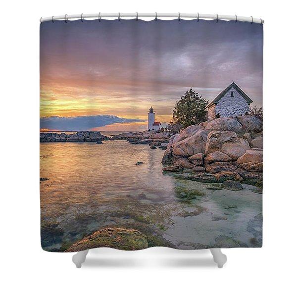 April Sunset At Annisquam Harbor Lighthouse Shower Curtain