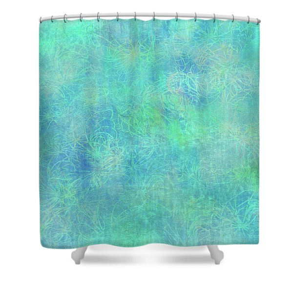 Aqua Batik Print Coordinate Shower Curtain