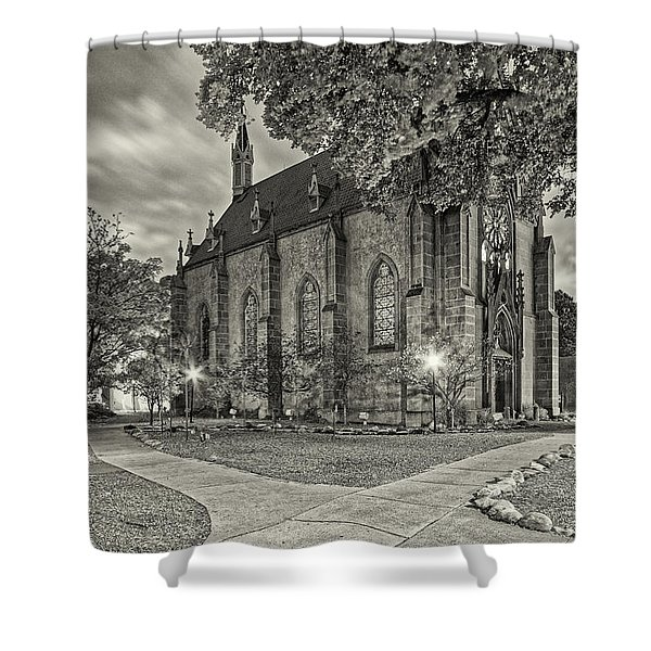 Architectural Photograph Of Loretto Chapel In Downtown Santa Fe - The City Different - New Mexico Shower Curtain