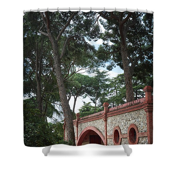 Architecture At The Gardens Of Cecilio Rodriguez In Retiro Park - Madrid, Spain Shower Curtain