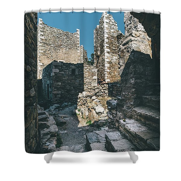 Shower Curtain featuring the photograph Architecture Of Old Vathia Settlement by Milan Ljubisavljevic