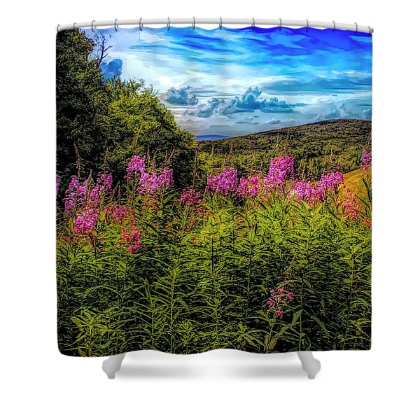 Art Photo Of Vermont Rolling Hills With Pink Flowers In The Fore Shower Curtain
