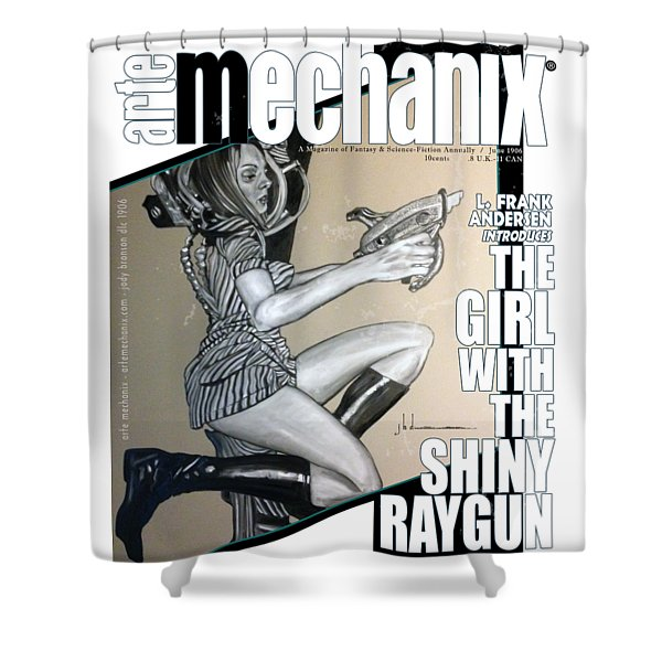 arteMECHANIX 1906 The GIRL WITH The SHINY RAYGUN GRUNGE Shower Curtain