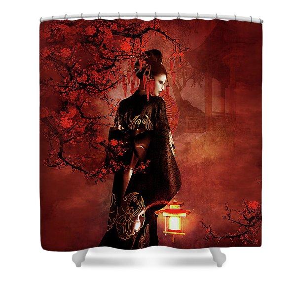 Sakura Red Shower Curtain