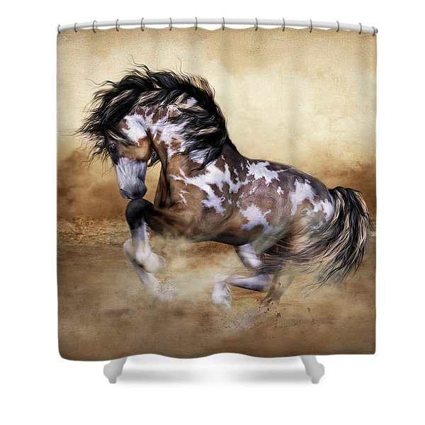 Wild And Free Horse Art Shower Curtain