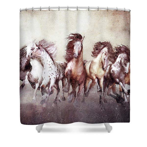 Galloping Horses Magnificent Seven Shower Curtain