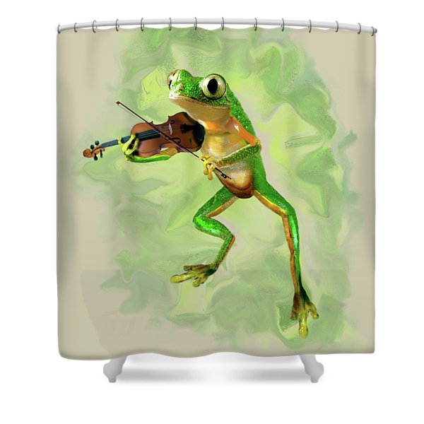 Humorous Tree Frog Playing A Fiddle Shower Curtain