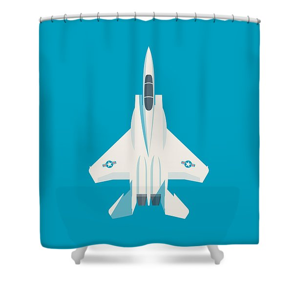 F15 Eagle Fighter Jet Aircraft - Blue Shower Curtain