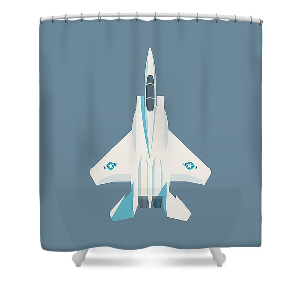 F15 Eagle Fighter Jet Aircraft - Slate Shower Curtain