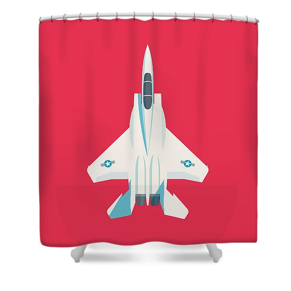 F15 Eagle Fighter Jet Aircraft - Crimson Shower Curtain