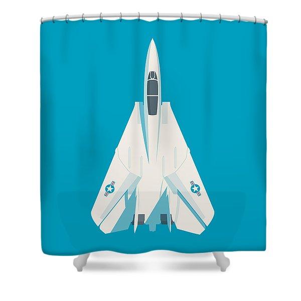 F14 Tomcat Fighter Jet Aircraft - Cyan Shower Curtain