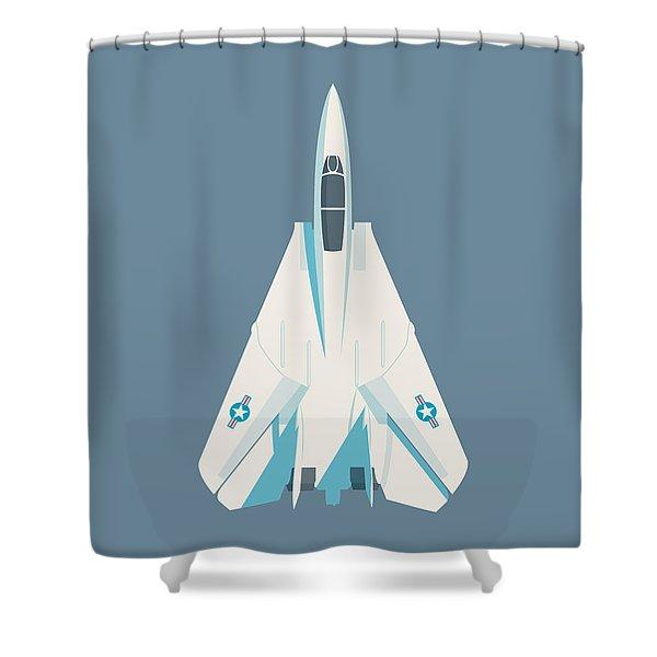 F14 Tomcat Fighter Jet Aircraft - Slate Shower Curtain
