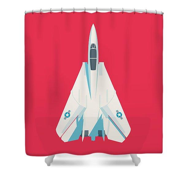 F14 Tomcat Fighter Jet Aircraft - Crimson Shower Curtain