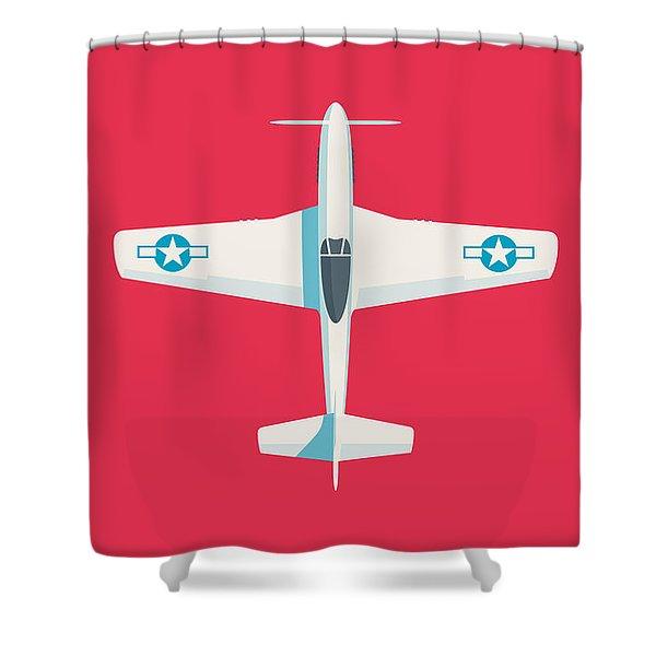 P51 Mustang Fighter Aircraft - Crimson Shower Curtain