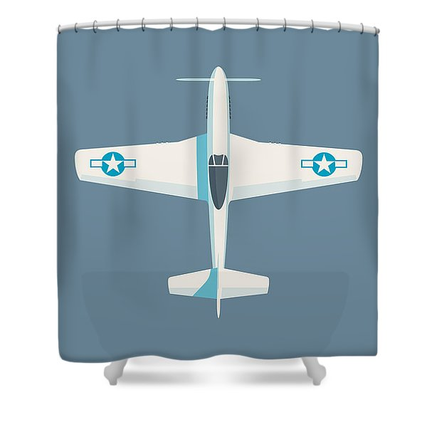 P51 Mustang Fighter Aircraft - Slate Shower Curtain