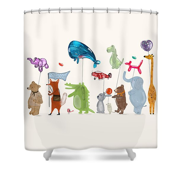 Balloon Parade Shower Curtain by Bri Buckley