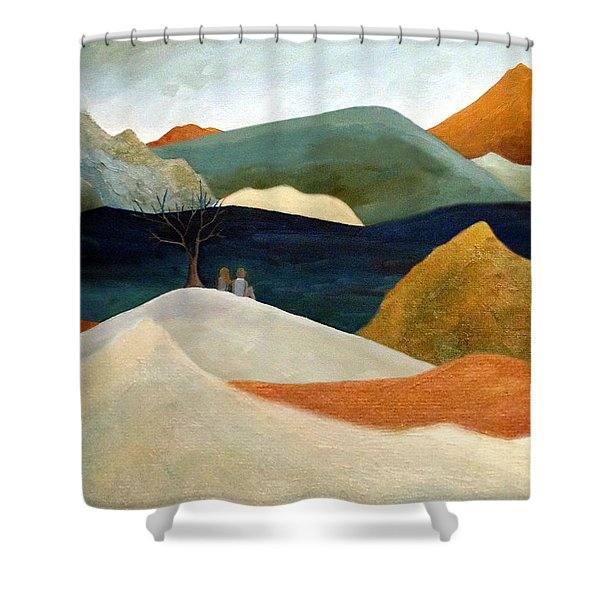Us Two With A View Shower Curtain
