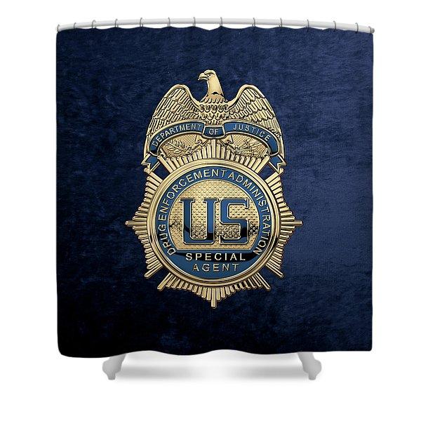 Drug Enforcement Administration -  D E A  Special Agent Badge Over Blue Velvet Shower Curtain