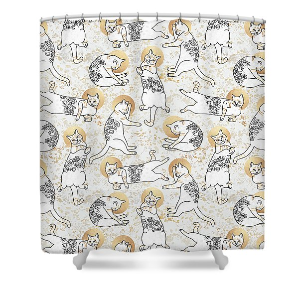 Floral Cats Shower Curtain