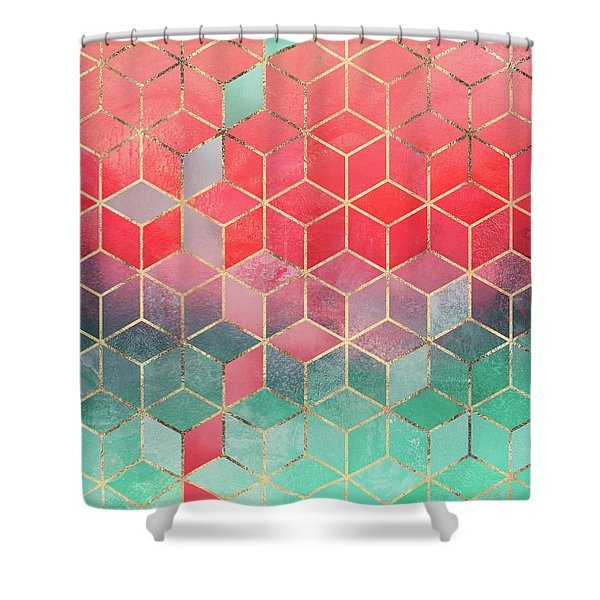 Rose And Turquoise Cubes Shower Curtain