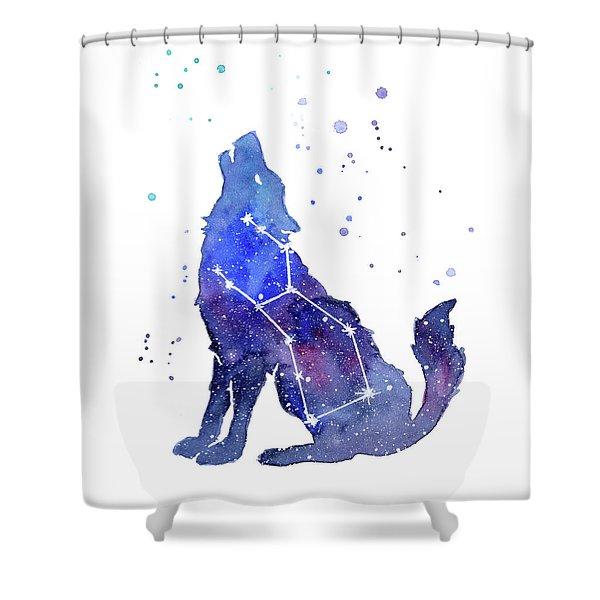 Galaxy Wolf - Lupus Constellation Shower Curtain