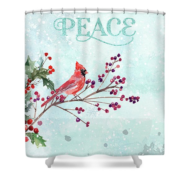 Woodland Holiday Peace Art Shower Curtain
