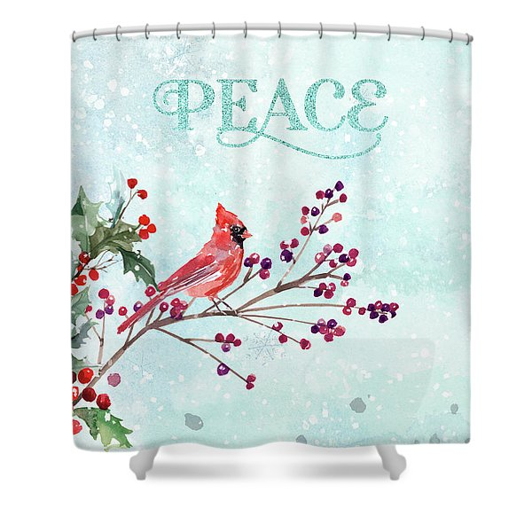 Woodland Holiday Peace Art Shower Curtain